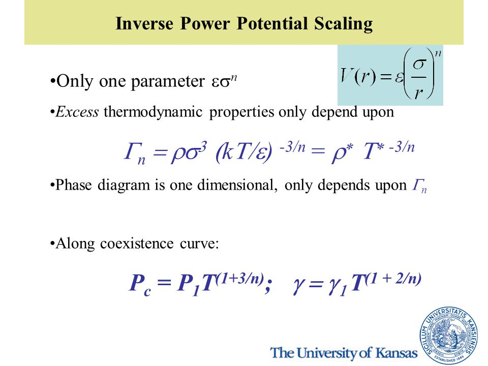 Inverse Power Potential Scaling Only one parameter  n Excess thermodynamic properties only depend upon  n    k  ) -3/n =     -3/n P