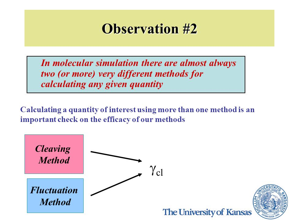 Observation #2 In molecular simulation there are almost always two (or more) very different methods for calculating any given quantity Calculating a quantity of interest using more than one method is an important check on the efficacy of our methods Cleaving Method Fluctuation Method  cl