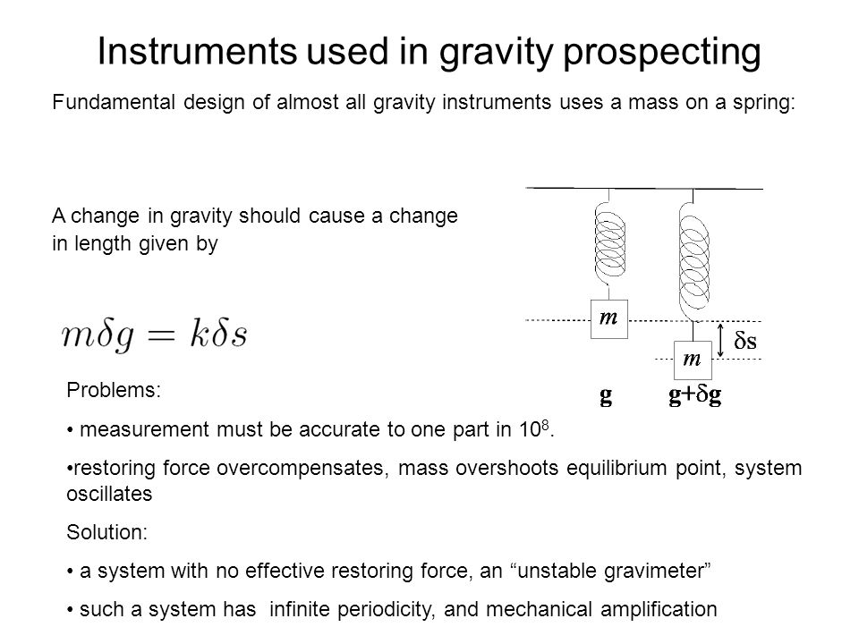 Instruments used in gravity prospecting Fundamental design of almost all gravity instruments uses a mass on a spring: A change in gravity should cause