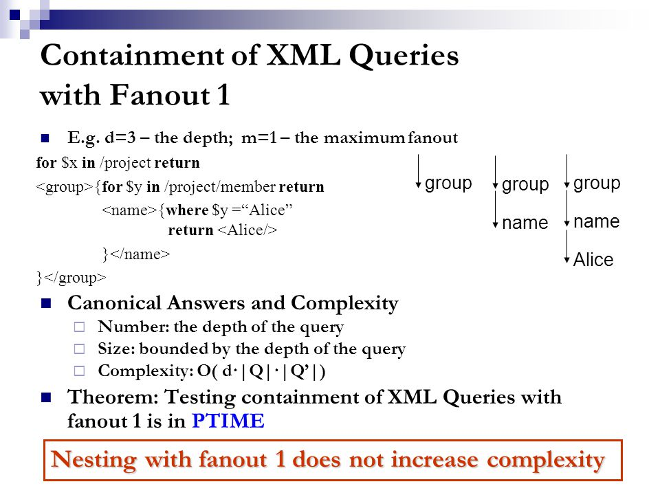 Containment of XML Queries with Fanout 1 E.g.