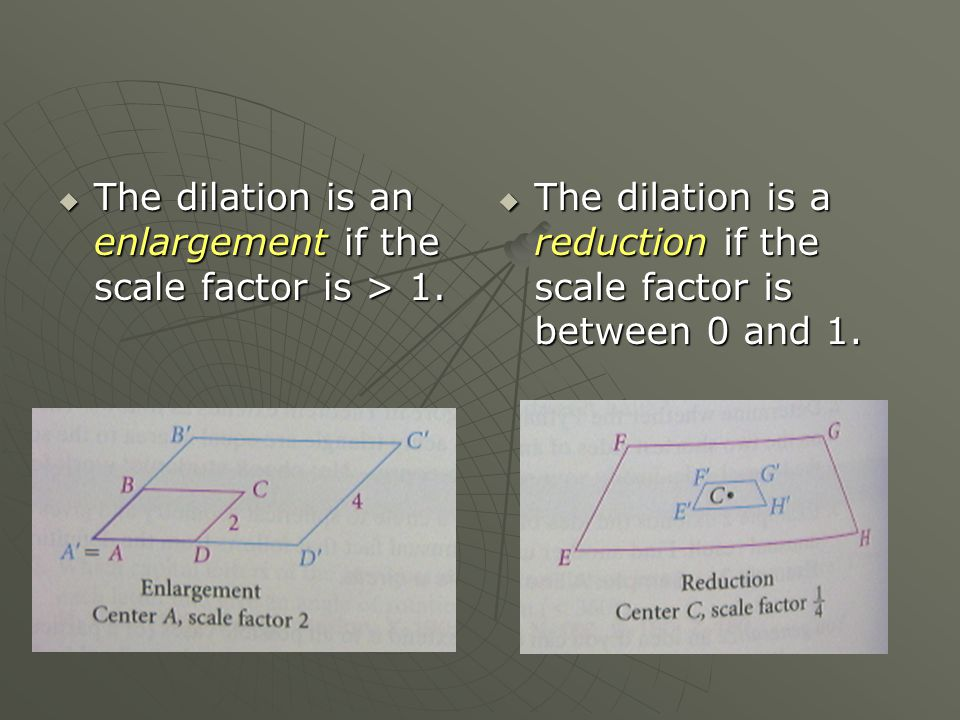  The dilation is an enlargement if the scale factor is > 1.