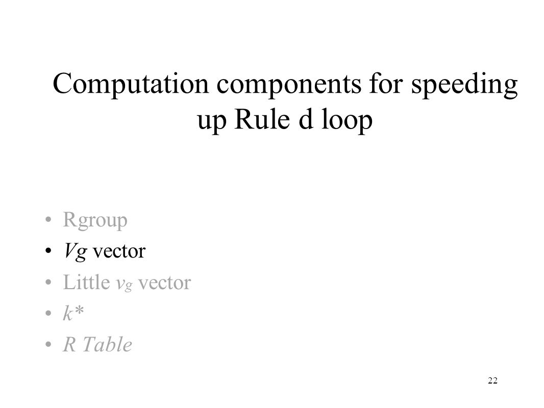 22 Computation components for speeding up Rule d loop Rgroup Vg vector Little v g vector k* R Table