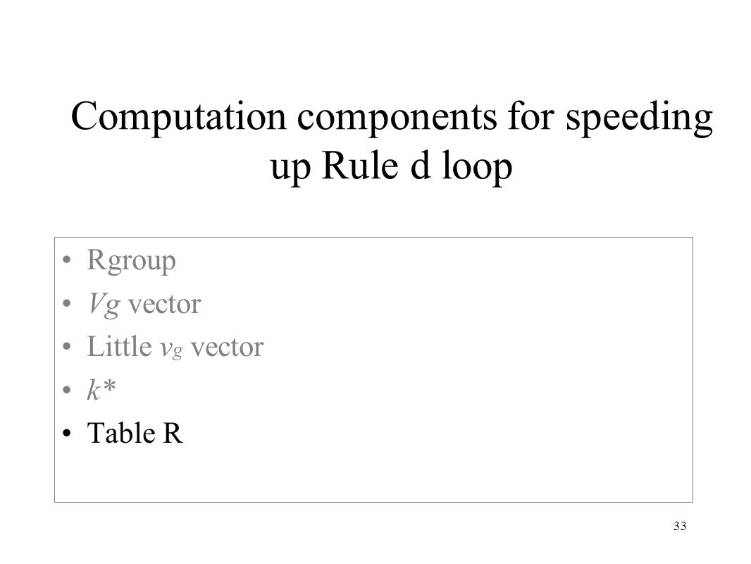 33 Computation components for speeding up Rule d loop Rgroup Vg vector Little v g vector k* Table R