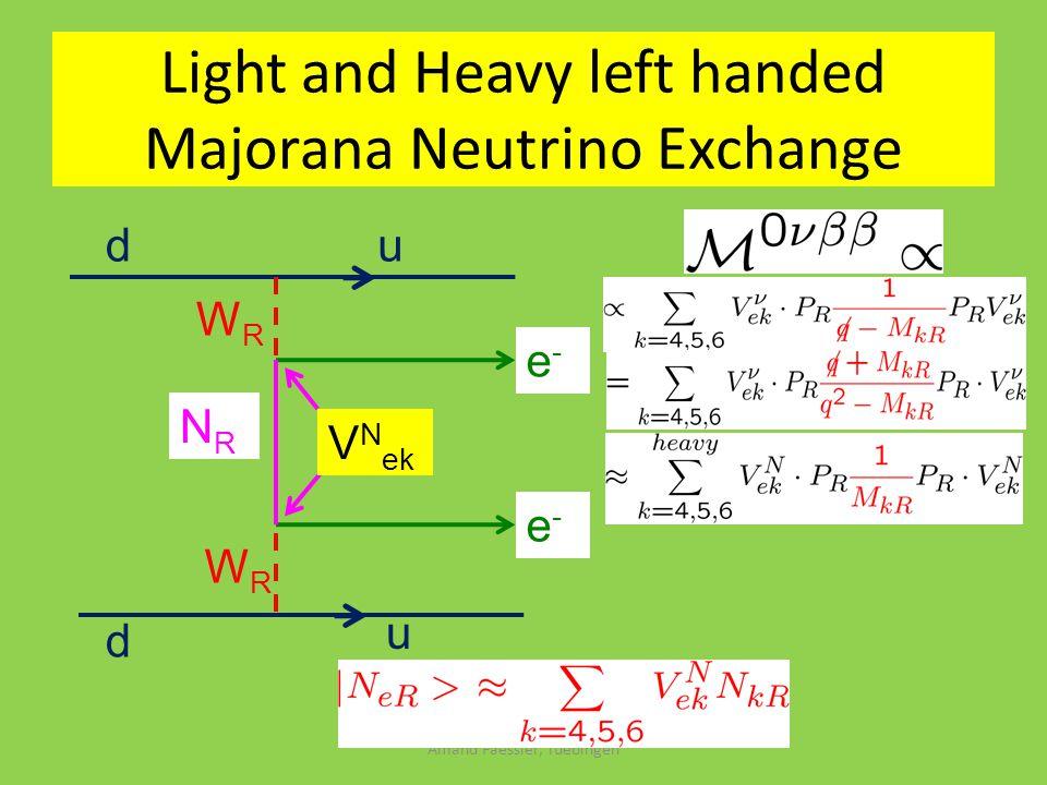 Amand Faessler, Tuebingen du d u WRWR WRWR NRNR e-e- e-e- Light and Heavy left handed Majorana Neutrino Exchange V N ek