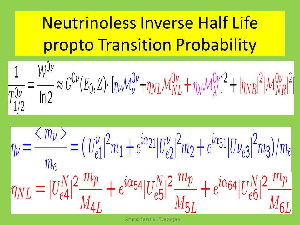 Amand Faessler, Tuebingen Neutrinoless Inverse Half Life propto Transition Probability