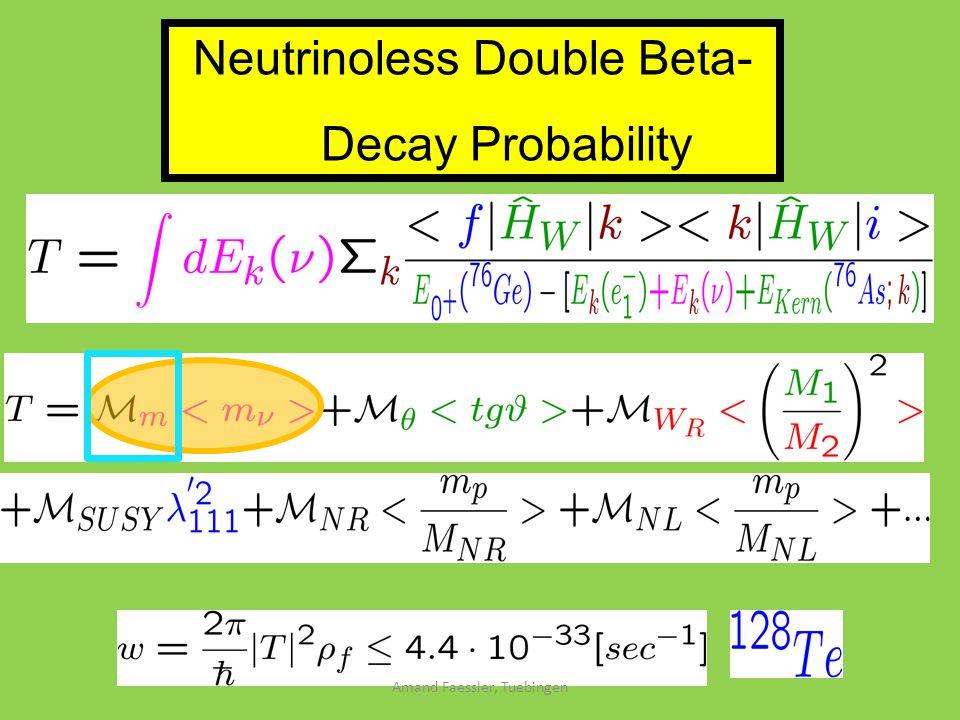 Neutrinoless Double Beta- Decay Probability Amand Faessler, Tuebingen