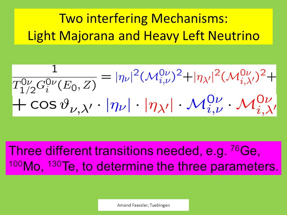 Two interfering Mechanisms: Light Majorana and Heavy Left Neutrino Amand Faessler, Tuebingen Three different transitions needed, e.g. 76 Ge, 100 Mo, 1
