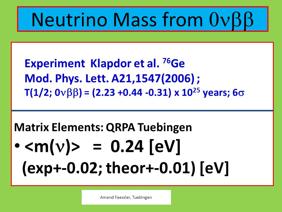 Neutrino Mass from   Experiment Klapdor et al. 76 Ge  Mod. Phys. Lett. A21,1547(2006) ;  T(1/2; 0  ) = (2.23 +0.44 -0.31) x 10 25 years; 6 
