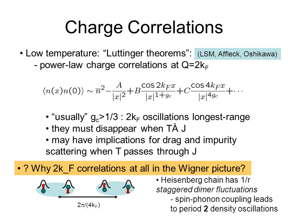 Charge Correlations Low temperature: Luttinger theorems : - power-law charge correlations at Q=2k F (LSM, Affleck, Oshikawa) usually g c >1/3 : 2k F oscillations longest-range they must disappear when TÀ J may have implications for drag and impurity scattering when T passes through J .