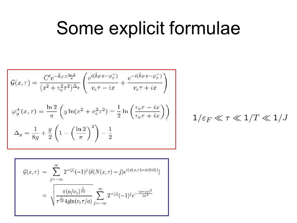 Some explicit formulae