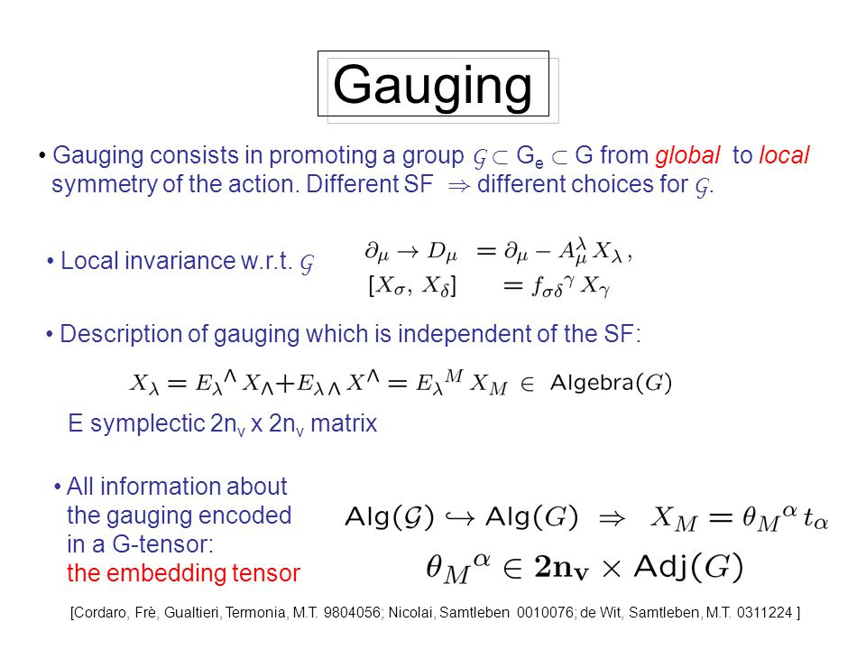 Gauging Gauging consists in promoting a group G ½ G e ½ G from global to local symmetry of the action. Different SF ) different choices for G. Local i