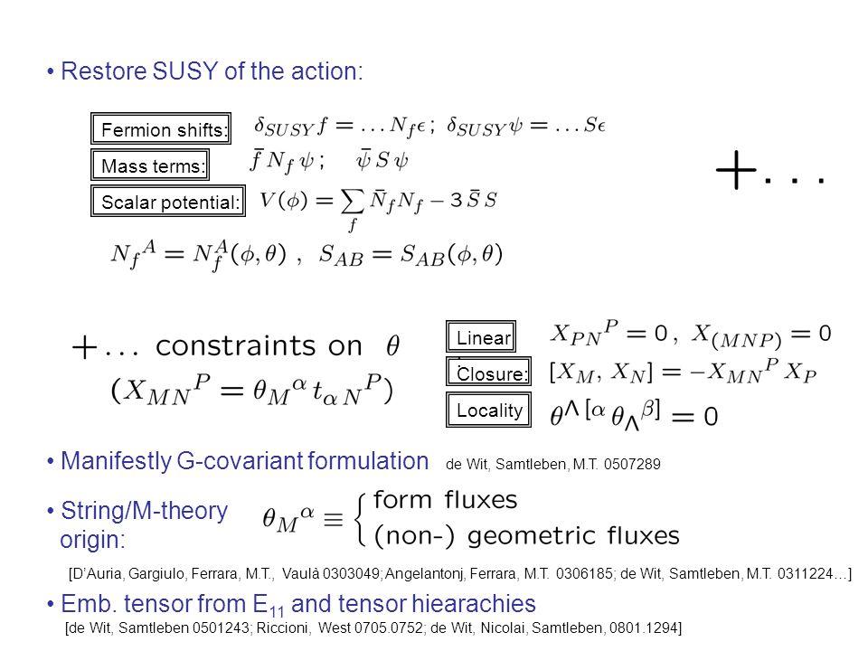 Restore SUSY of the action: Mass terms: Scalar potential: Fermion shifts: Closure: Locality Linear : String/M-theory origin: [D'Auria, Gargiulo, Ferrara, M.T., Vaulà 0303049; Angelantonj, Ferrara, M.T.