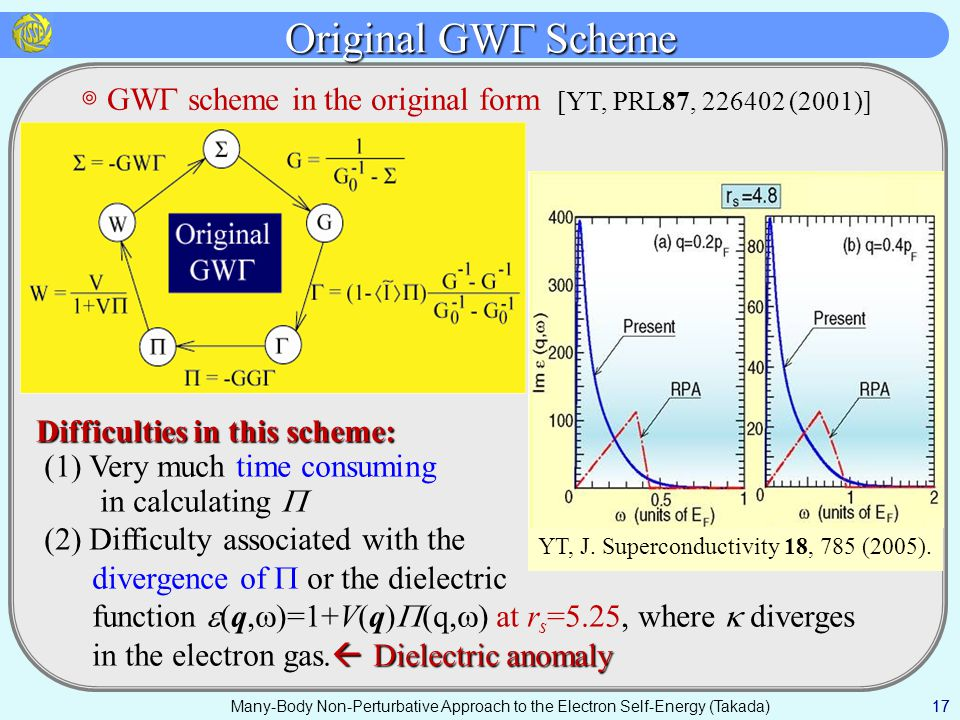 Original GW  Scheme 17 ◎ GW  scheme in the original form [YT, PRL87, 226402 (2001)] 17 Many-Body Non-Perturbative Approach to the Electron Self-Energy (Takada) Difficulties in this scheme: (1) Very much time consuming in calculating  (2) Difficulty associated with the divergence of  or the dielectric function  (q,  )=1+V(q)  (q,  ) at r s =5.25, where  diverges  Dielectric anomaly in the electron gas.