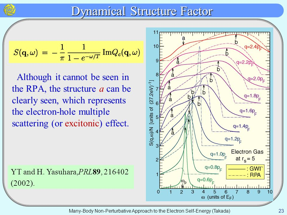Dynamical Structure Factor Although it cannot be seen in the RPA, the structure a can be clearly seen, which represents the electron-hole multiple scattering (or excitonic) effect.