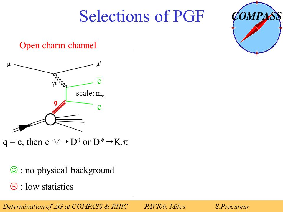 Open charm channel q = c, then c D 0 or D* K,  c c : no physical background  : low statistics Selections of PGF scale: m c Determination of  G at COMPASS & RHICPAVI06, Milos S.Procureur