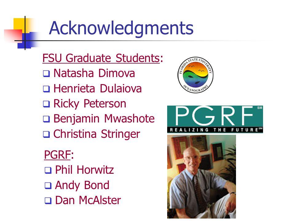 Acknowledgments FSU Graduate Students:  Natasha Dimova  Henrieta Dulaiova  Ricky Peterson  Benjamin Mwashote  Christina Stringer PGRF:  Phil Hor