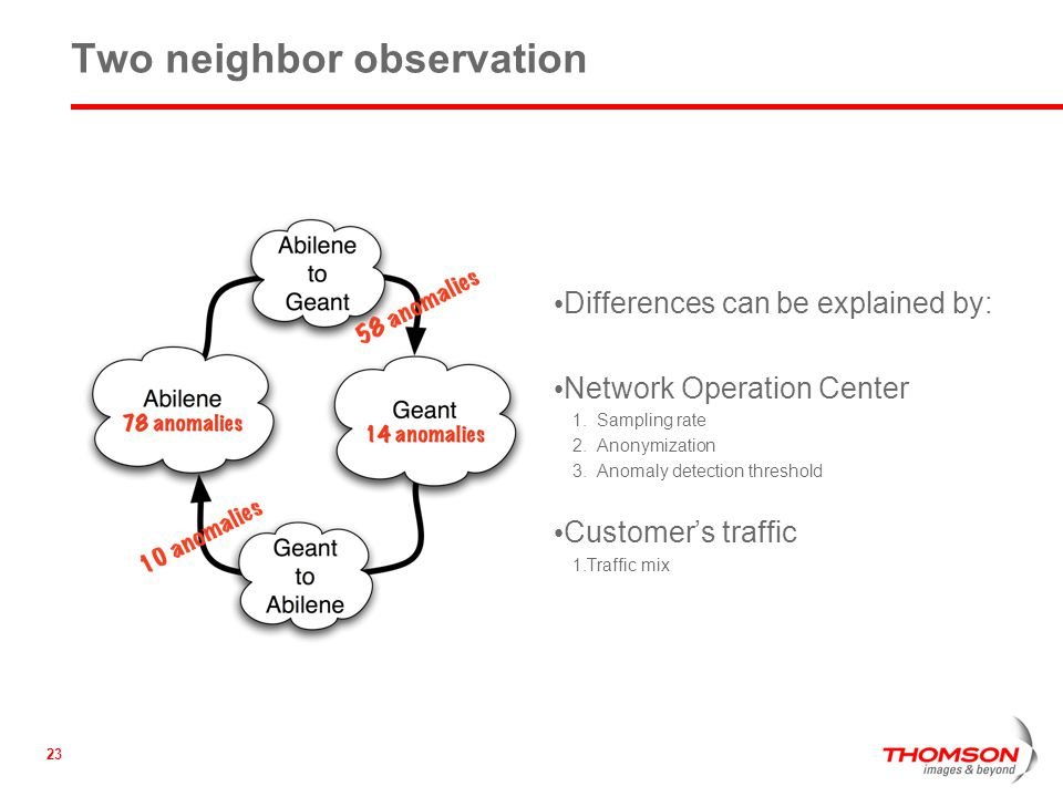 23 Two neighbor observation Differences can be explained by: Network Operation Center 1.