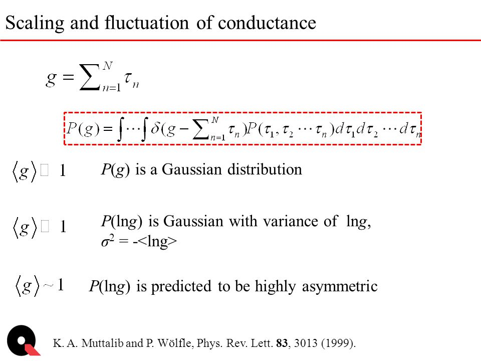 Scaling and fluctuation of conductance P(lng) is predicted to be highly asymmetric K. A. Muttalib and P. Wölfle, Phys. Rev. Lett. 83, 3013 (1999). P(l