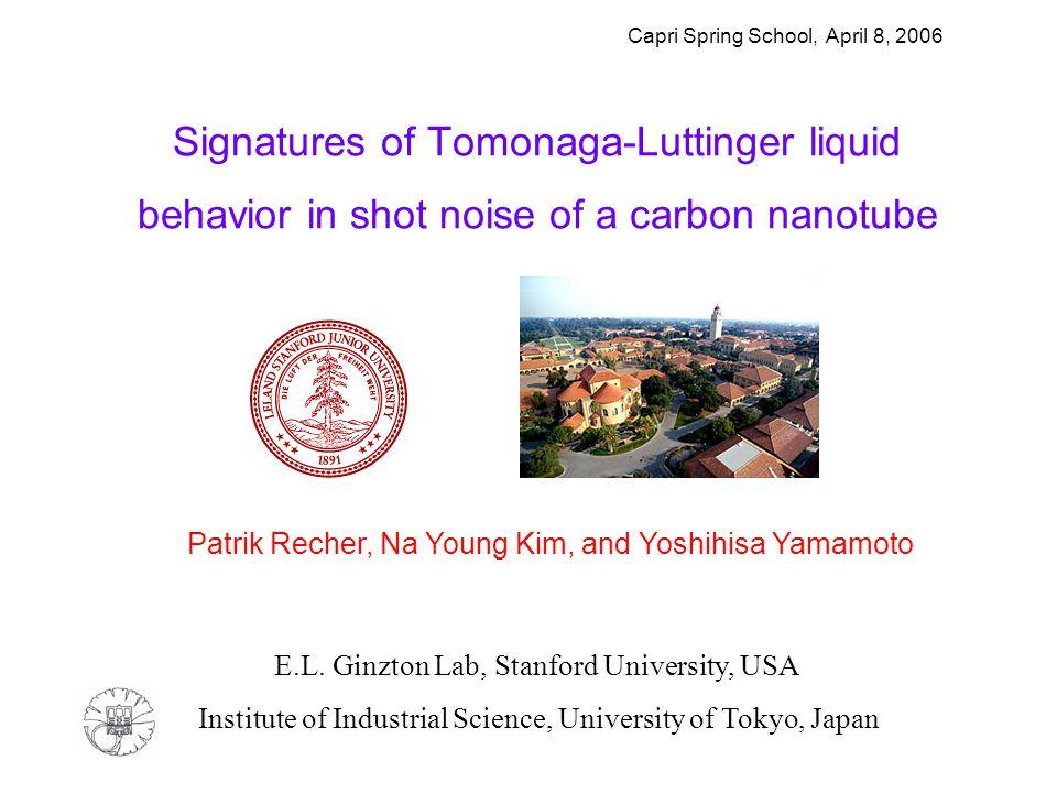Signatures of Tomonaga-Luttinger liquid behavior in shot noise of a carbon nanotube Patrik Recher, Na Young Kim, and Yoshihisa Yamamoto Institute of Industrial Science, University of Tokyo, Japan E.L.