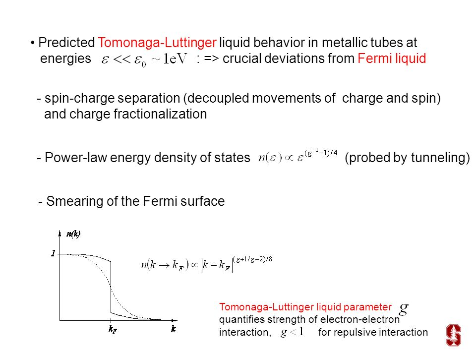 Predicted Tomonaga-Luttinger liquid behavior in metallic tubes at energies : => crucial deviations from Fermi liquid - spin-charge separation (decoupled movements of charge and spin) and charge fractionalization - Power-law energy density of states (probed by tunneling) - Smearing of the Fermi surface Tomonaga-Luttinger liquid parameter quantifies strength of electron-electron interaction, for repulsive interaction