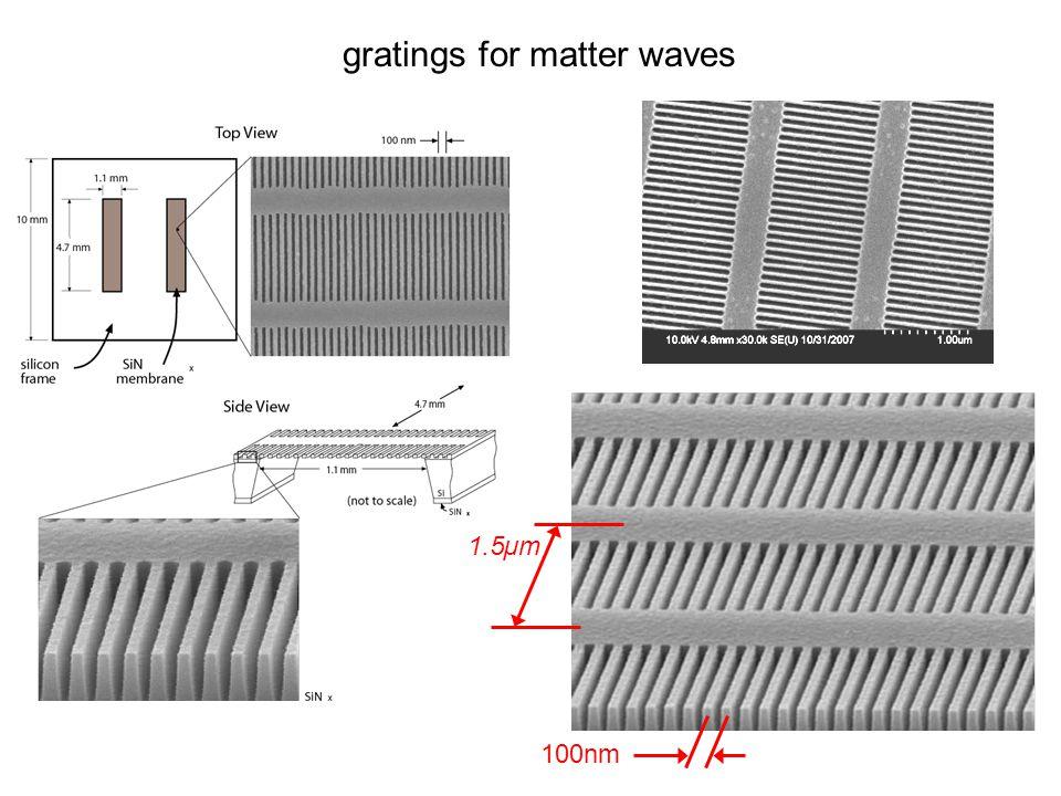 gratings for matter waves 100nm 1.5µm