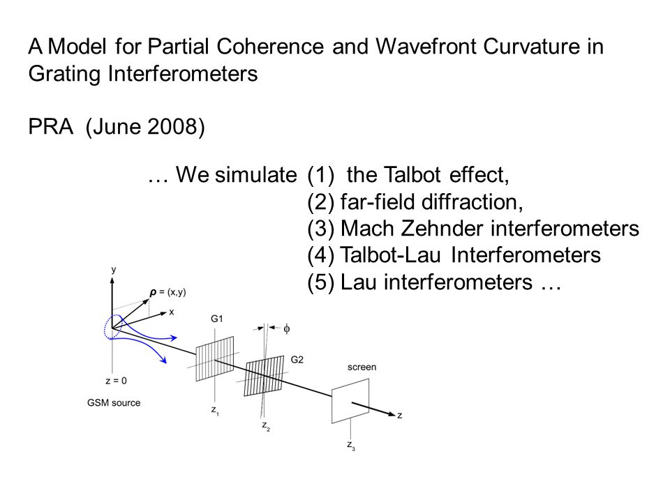 … We simulate(1) the Talbot effect, (2) far-field diffraction, (3) Mach Zehnder interferometers (4) Talbot-Lau Interferometers (5) Lau interferometers