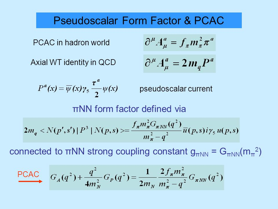 Pseudoscalar Form Factor & PCAC PCAC in hadron world Axial WT identity in QCD pseudoscalar current πΝΝ form factor defined via connected to πΝΝ strong coupling constant g πΝΝ = G πΝΝ (m π 2 ) PCAC