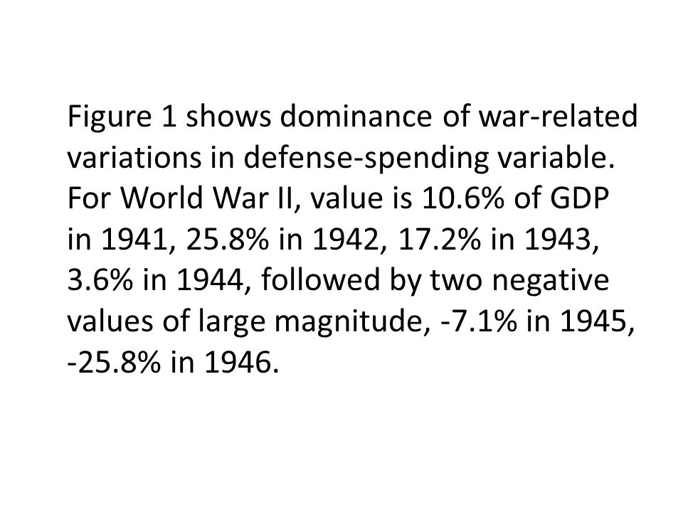 Figure 1 shows dominance of war-related variations in defense-spending variable. For World War II, value is 10.6% of GDP in 1941, 25.8% in 1942, 17.2%