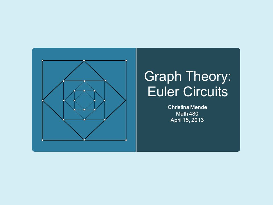 Graph Theory: Euler Circuits Christina Mende Math 480 April 15, 2013