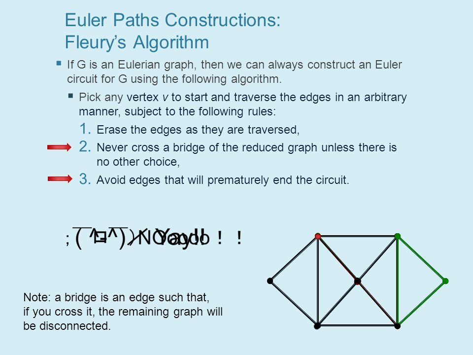 Euler Paths Constructions: Fleury's Algorithm  If G is an Eulerian graph, then we can always construct an Euler circuit for G using the following algorithm.