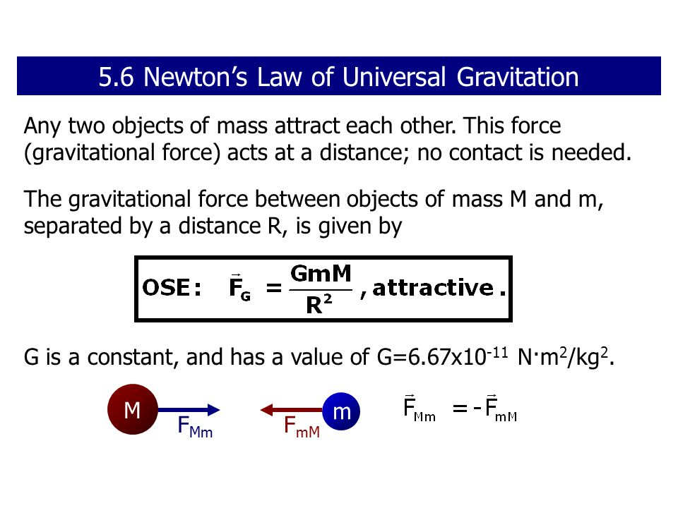 Any two objects of mass attract each other.