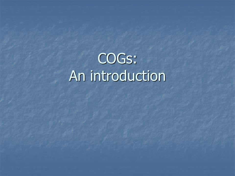 COGs: An introduction