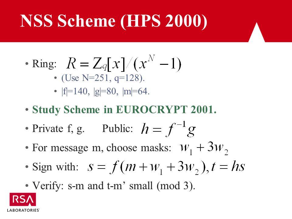 NSS Scheme (HPS 2000) Ring: (Use N=251, q=128). |f|=140, |g|=80, |m|=64.