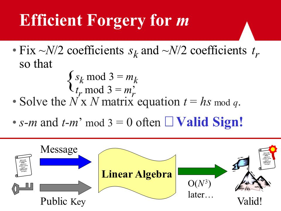 RSA Labs attacks the NTRU signature scheme using linear algebra and statistical analysis Efficient Forgery for m Fix ~N/2 coefficients s k and ~N/2 coefficients t r so that { Solve the N x N matrix equation t = hs mod q.