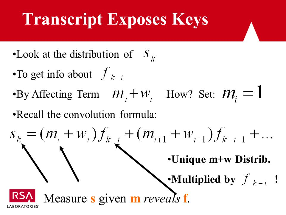 Transcript Exposes Keys Measure s given m reveals f.