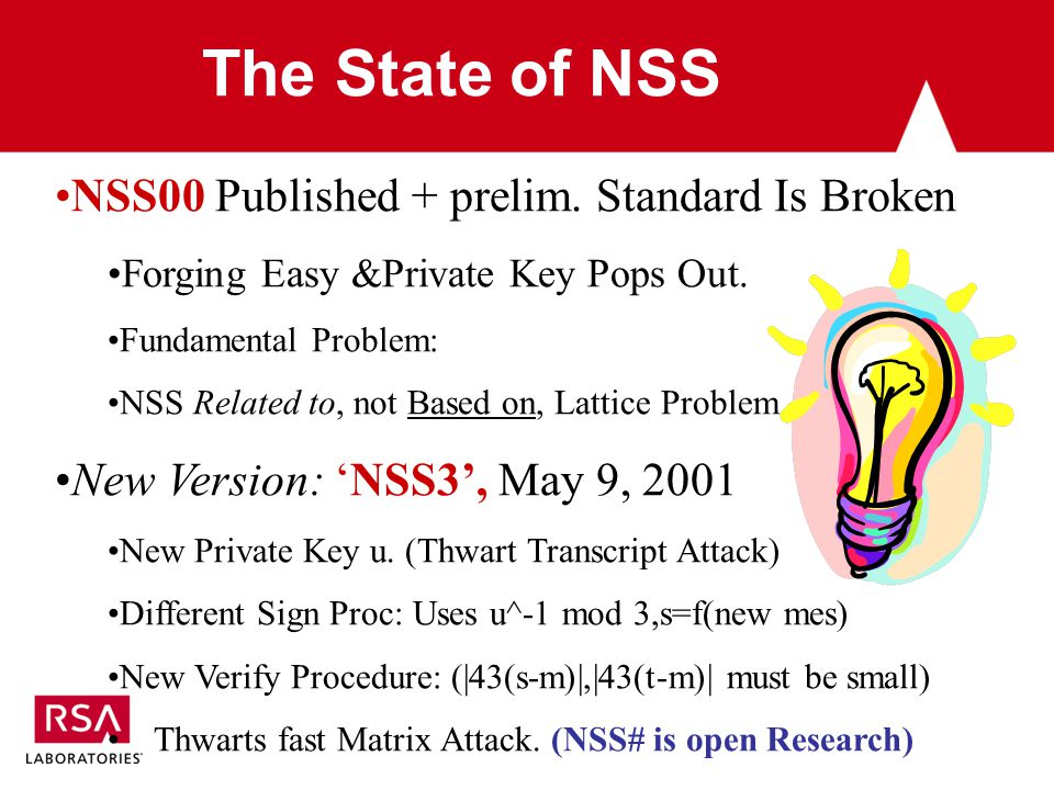 The State of NSS NSS00 Published + prelim. Standard Is Broken Forging Easy &Private Key Pops Out.