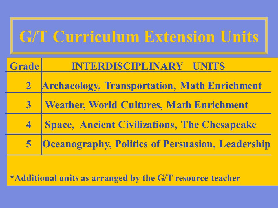 G/T Curriculum Extension Units Grade INTERDISCIPLINARY UNITS 2 Archaeology, Transportation, Math Enrichment 3 Weather, World Cultures, Math Enrichment 4 Space, Ancient Civilizations, The Chesapeake 5 Oceanography, Politics of Persuasion, Leadership *Additional units as arranged by the G/T resource teacher