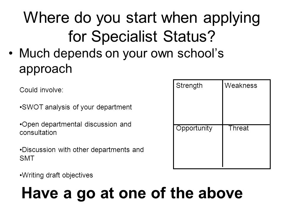 Where do you start when applying for Specialist Status.