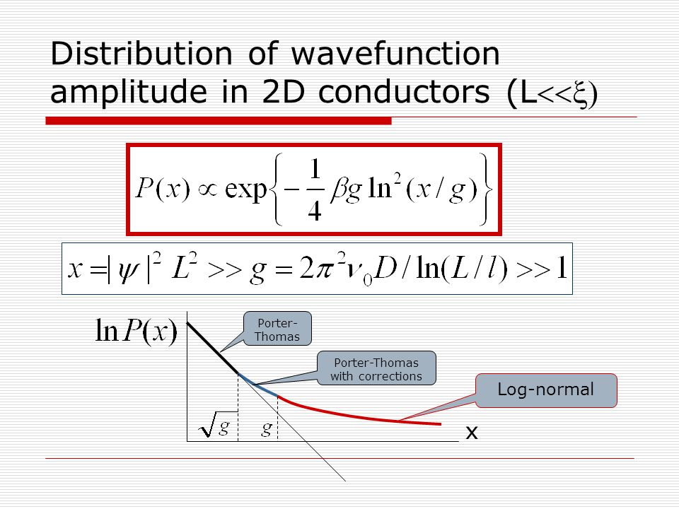 Distribution of wavefunction amplitude in 2D conductors (L x Porter- Thomas Porter-Thomas with corrections Log-normal
