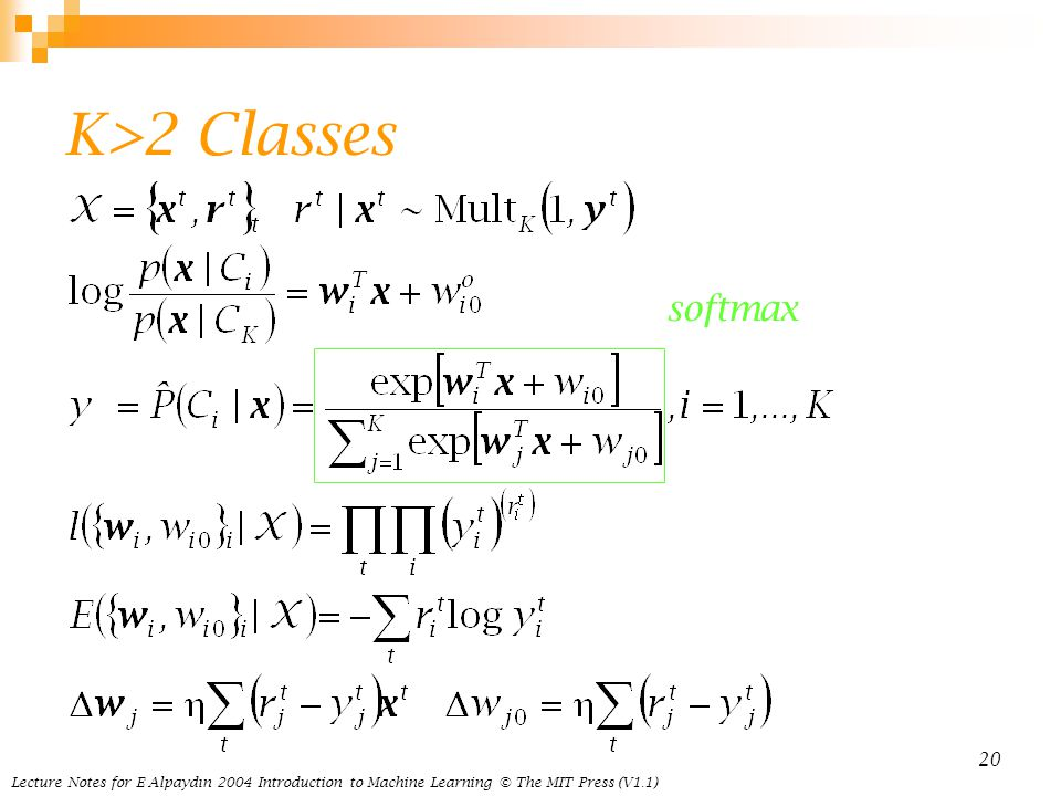 Lecture Notes for E Alpaydın 2004 Introduction to Machine Learning © The MIT Press (V1.1) 20 K>2 Classes softmax