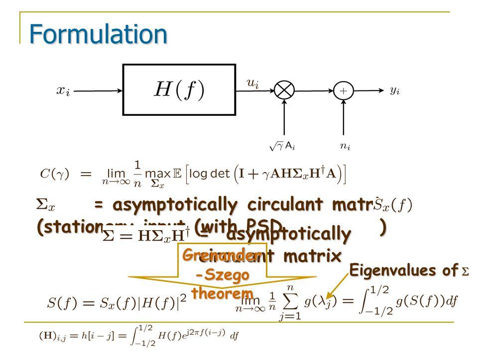Formulation = asymptotically circulant matrix (stationary input (with PSD ) = asymptotically circulant matrix (stationary input (with PSD ) = asymptot