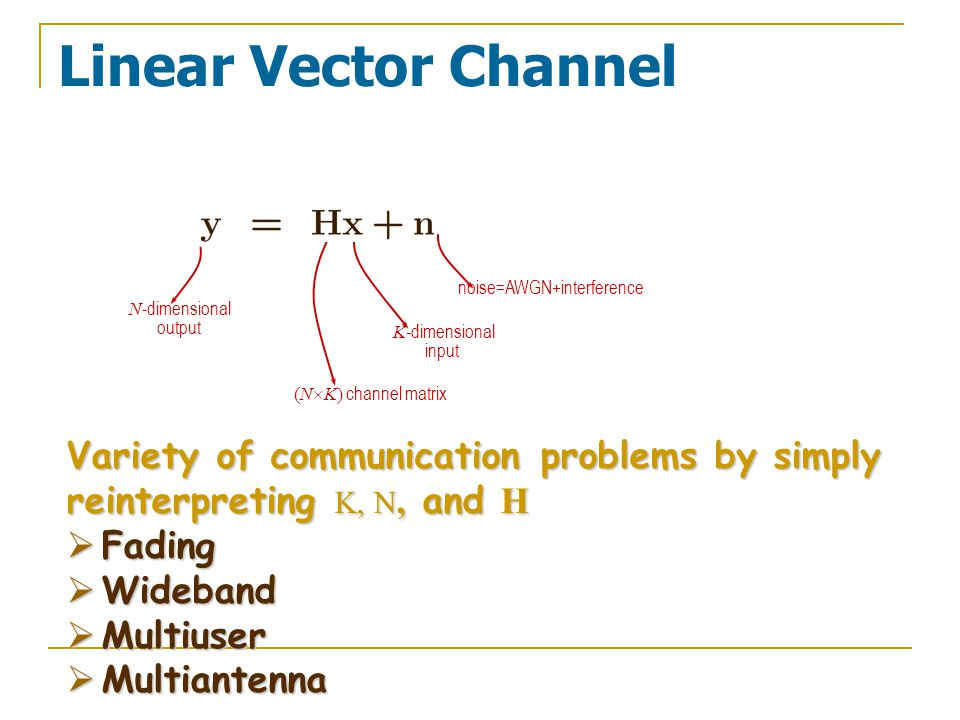 Linear Vector Channel N -dimensional output noise=AWGN+interference K -dimensional input (N  K) channel matrix Variety of communication problems by simply reinterpreting K, N, and H  Fading  Wideband  Multiuser  Multiantenna