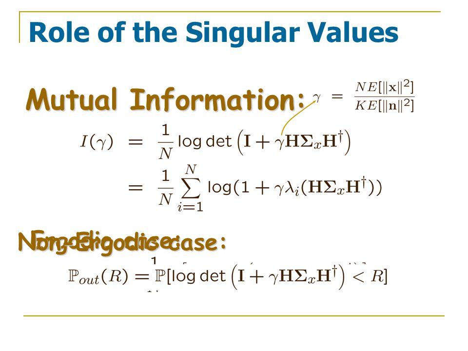 Role of the Singular Values Mutual Information: Ergodic case: Non-Ergodic case: