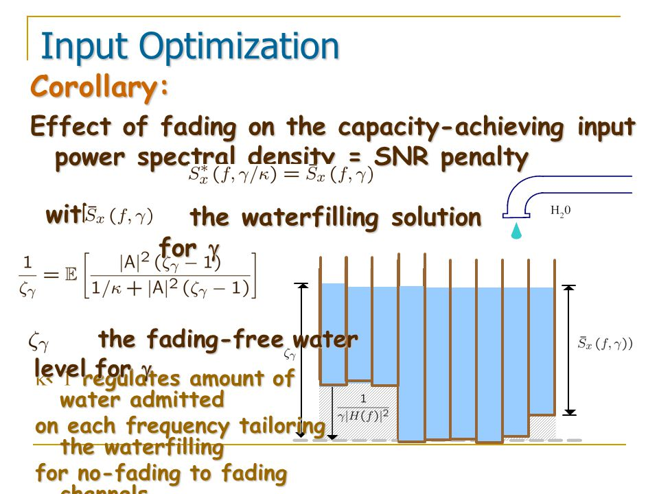 Corollary: Effect of fading on the capacity-achieving input power spectral density = SNR penalty Input Optimization with regulates amount of water admitted  < 1 regulates amount of water admitted on each frequency tailoring the waterfilling for no-fading to fading channels for no-fading to fading channels.