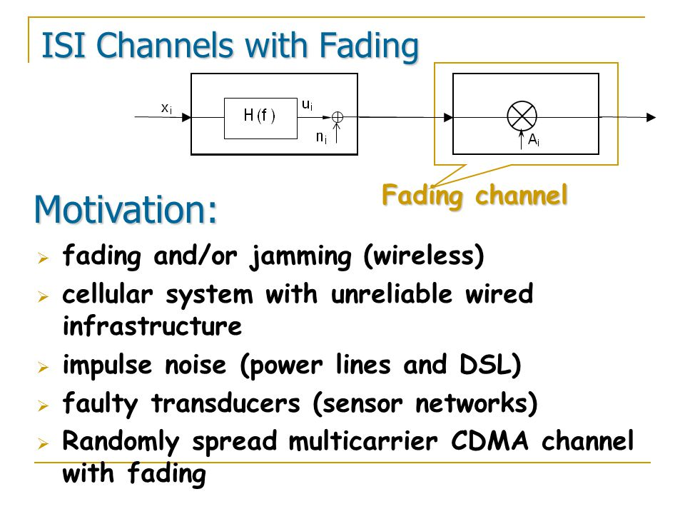 ISI Channels with Fading Fading channel Motivation:  fading and/or jamming (wireless)  cellular system with unreliable wired infrastructure  impulse noise (power lines and DSL)  faulty transducers (sensor networks)  Randomly spread multicarrier CDMA channel with fading