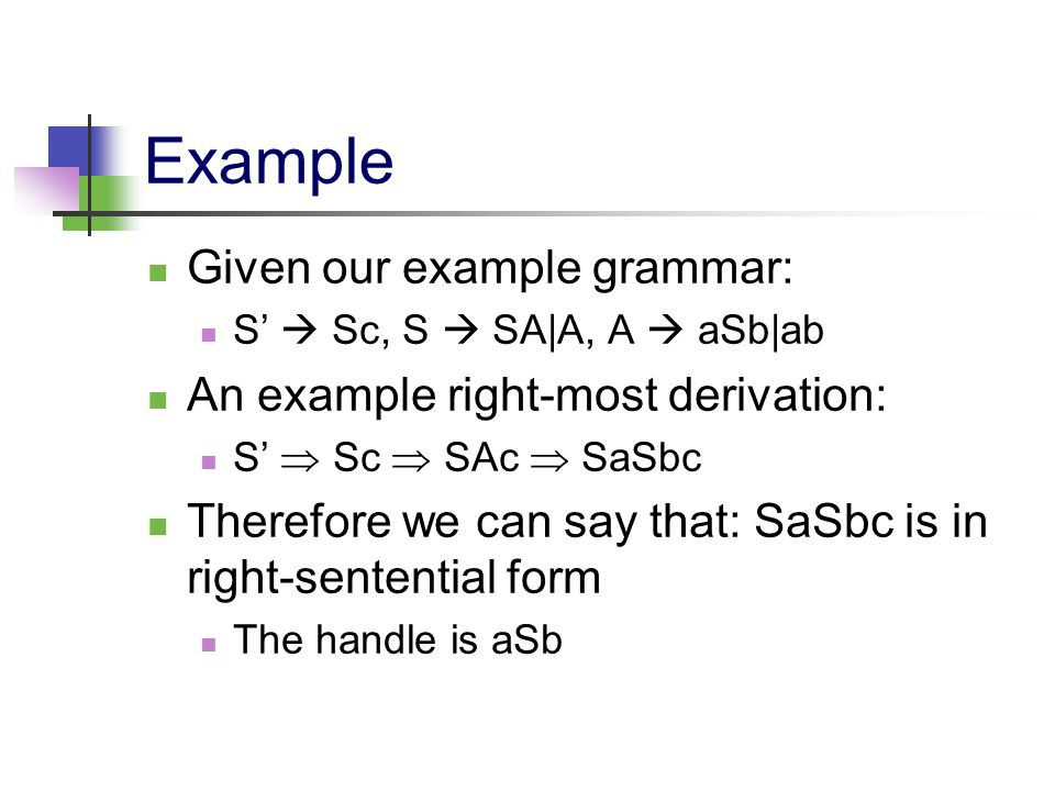 Example Given our example grammar: S'  Sc, S  SA|A, A  aSb|ab An example right-most derivation: S'  Sc  SAc  SaSbc Therefore we can say that: Sa