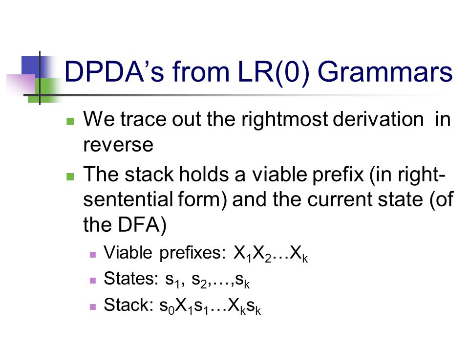 DPDA's from LR(0) Grammars We trace out the rightmost derivation in reverse The stack holds a viable prefix (in right- sentential form) and the curren
