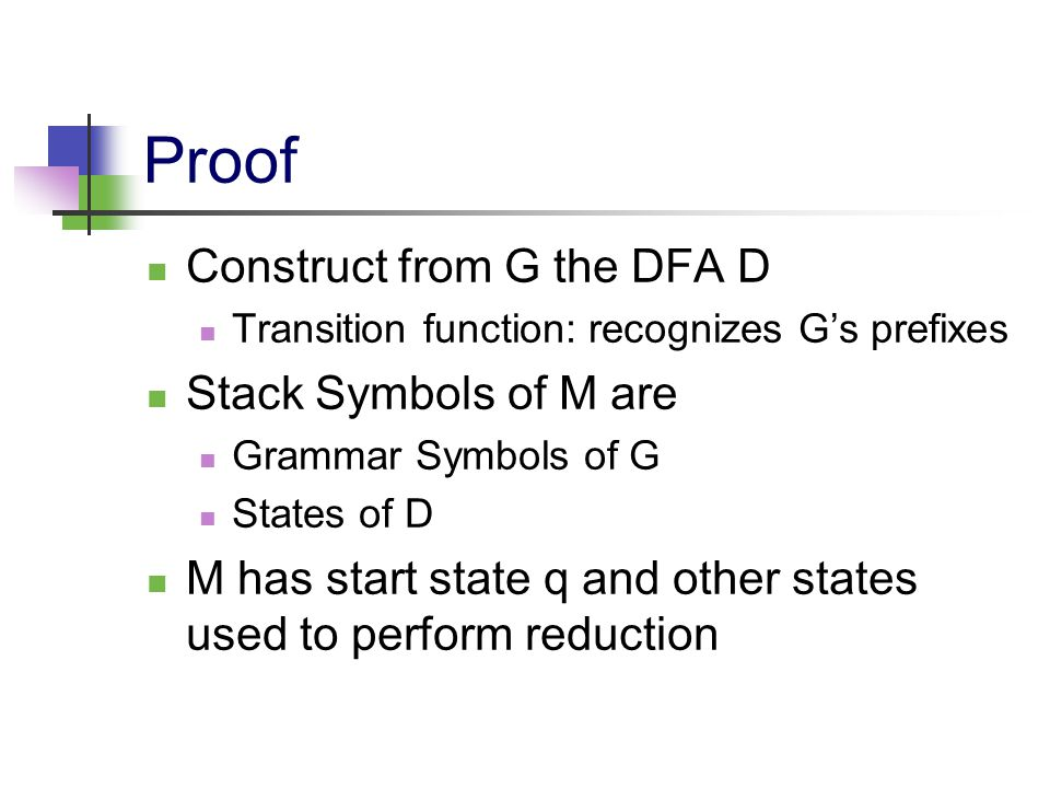 Proof Construct from G the DFA D Transition function: recognizes G's prefixes Stack Symbols of M are Grammar Symbols of G States of D M has start stat