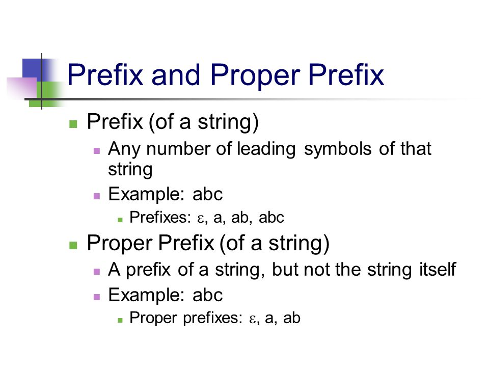 Prefix and Proper Prefix Prefix (of a string) Any number of leading symbols of that string Example: abc Prefixes: , a, ab, abc Proper Prefix (of a st