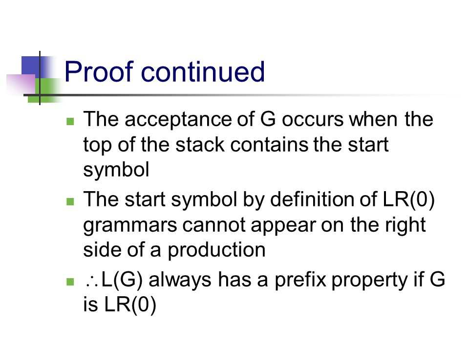 Proof continued The acceptance of G occurs when the top of the stack contains the start symbol The start symbol by definition of LR(0) grammars cannot